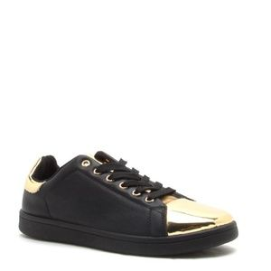 Shoes - Black and Gold Embossed Sneaker